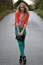 Teal-republic-jeans-coral-glowvintage-jacket-black-thrifted-vintage-bag