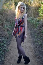 black Primark boots - ruby red Love dress - black Urban Outfitters tights