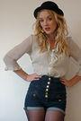 Blue-topshop-shorts-white-vintage-blouse-black-h-m-hat