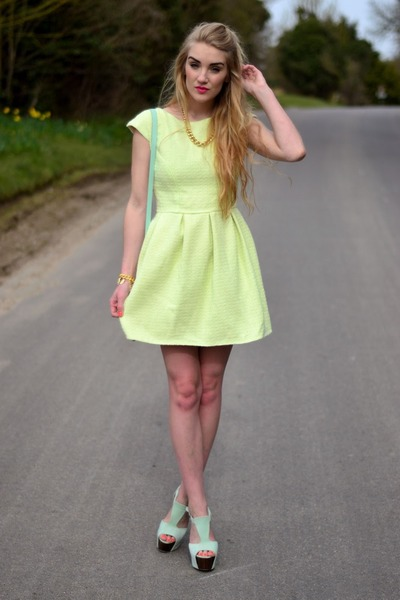 lime green neon Jones and Jones dress - aquamarine pastel heels Boohoo heels