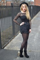 black bowler hat H&M hat - black Madam Rage dress - black OASAP shorts