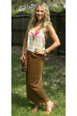 vintage purse - vintage skirt - Gilly Hicks top - vintage necklace - vintage nec