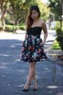 Black-bandage-bustier-nasty-gal-top-black-h-m-skirt-black-zara-heels