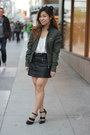 Army-green-members-only-jacket-ivory-forever-21-top-black-forever-21-skirt