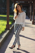 black Zara heels - white mesh sweater Love Culture sweater - black H&M pants