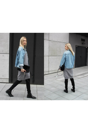 heather gray COS jumper - black Zara boots - sky blue Lee blazer