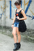 black random top - black fringe thrifted bag - blue random shorts