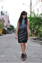 black Mango skirt - navy used as top Kisses & Co dress - black Naf Naf heels
