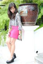 heather gray Anne Klein top - hot pink Pink Manila skirt