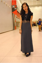 dark gray maxi dress mint dress - black sequined thrifted blazer