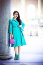 Turquoise-blue-max-mara-dress-light-purple-h-m-bag-turquoise-blue-zara-heels