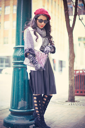black rachel roy boots - charcoal gray Vero Moda sweater - black Zara skirt