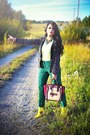 Maroon-celine-bag-dark-green-zara-jacket-yellow-rachel-roy-wedges