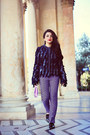 Navy-dolce-gabbana-jacket-violet-h-m-bag-light-purple-prada-pants