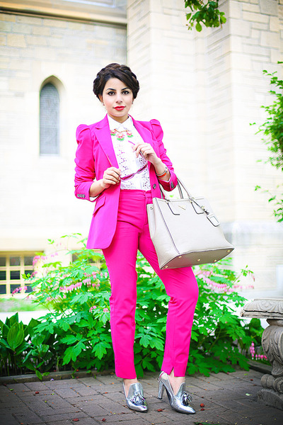 hot pink Zara blazer - nude Prada bag - hot pink Zara pants