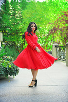 black Zara heels - red pink tartan dress - gold Zara hair accessory