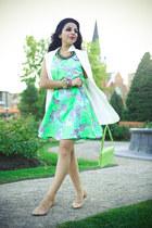 Zara vest - floral print Topshop dress - H&M bag - asos flats