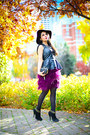 Black-zara-boots-magenta-h-m-hat-black-asos-purse-black-zara-top