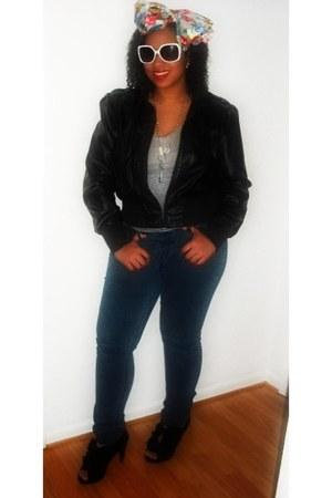 black DSW heels - blue denim 579 jeans - leather jacket Forever 21 jacket