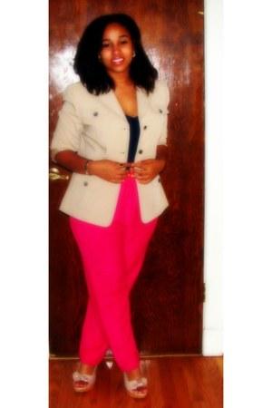 hot pink pants - beige blazer - navy v-neck shirt - gold earrings
