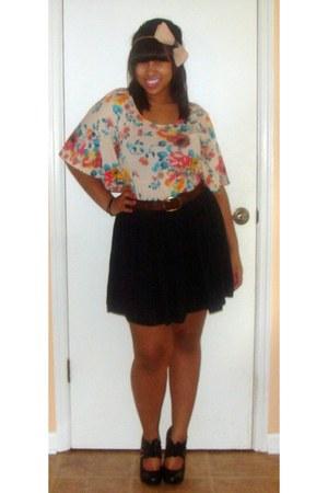 black skirt - brown flowers belt - colorful floral blouse
