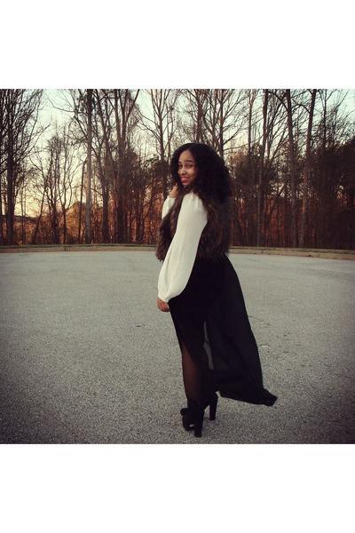 black chiffon maxi Forever 21 skirt - white chiffon Sugarlips blouse