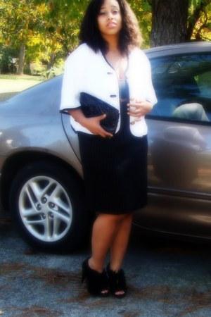 black ruffle DSW heels - black bag - blouse - pencil skirt skirt