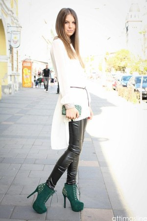 green Alexander McQueen bag - black leggings - white gold shirt - green heels