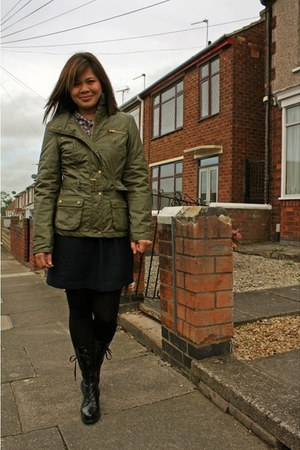 military jacket Oasis coat - Nine West boots - blue mini JCrew skirt