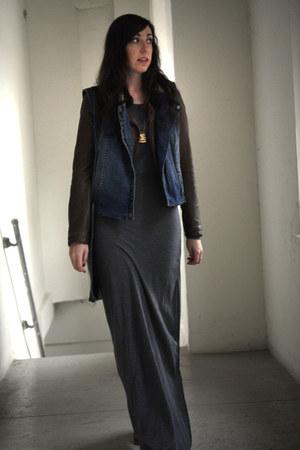 brown faux leather Zara jacket - heather gray maxi asos dress