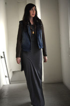 brown faux leather Zara jacket - heather gray maxi asos dress