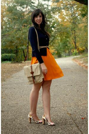 beige Fossil bag - yellow silk ballad madewell dress - white JCrew pumps