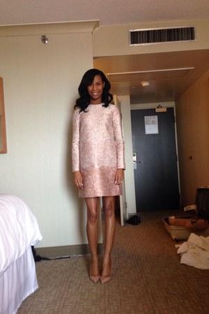 light pink dress - tan Christian Louboutin heels