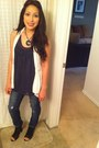 Distressed-pacsun-jeans-floral-vintage-necklace-navy-cynthia-rowley-blouse-