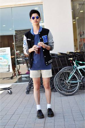 vintage glasses - Dr Martens shoes - varsity Sfera jacket - Zara t-shirt