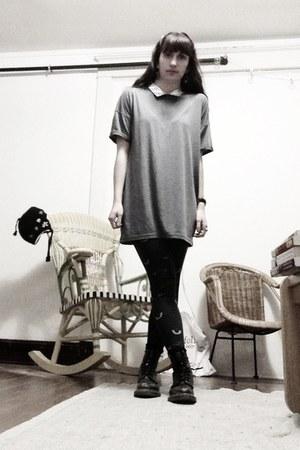 black Dr Martens boots - black BDG leggings - silver asos shirt