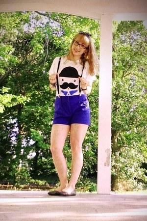 white t-shirt - blue H&M shorts - black suspenders American Apparel belt