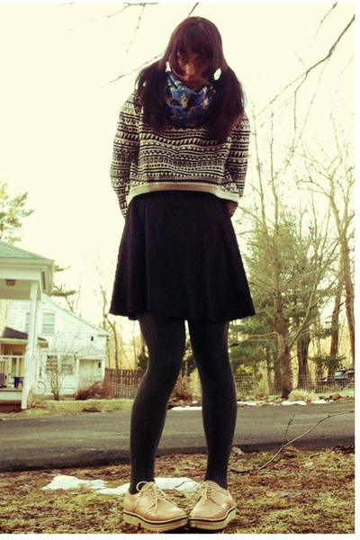 blue scarf - black American Apparel skirt