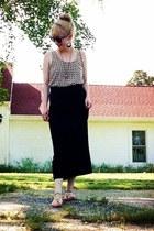 black maxi H&M skirt - camel polka dot charlotte rousse shirt