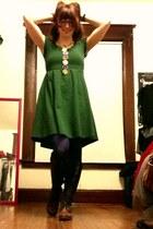 dark brown lace up boots - dark green Ya dress - navy tights