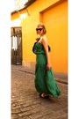 Green-maxi-dress-black-h-m-bag