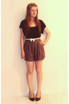black Dotti top - brown avacado shorts - black K-mart shoes - white my little si