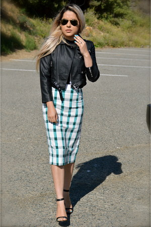 black biker Nasty Gal jacket - teal pencil Zara skirt