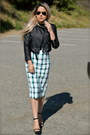 Black-biker-nasty-gal-jacket-teal-pencil-zara-skirt