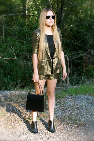 gold bronze gold bcbg max azria blazer - black thrifted purse