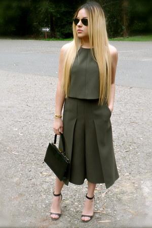 olive green Topshop top - olive green culottes Topshop pants