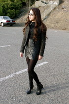 tweed Marshalls jacket - ankle boots Anne Klein boots - Ray Ban sunglasses