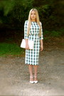 Teal-plaid-zara-shirt-teal-plaid-zara-skirt-white-river-island-heels