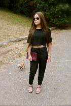 black crop top Nasty Gal top - black Marshalls pants