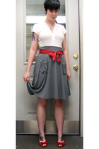 top - skirt - belt - shoes